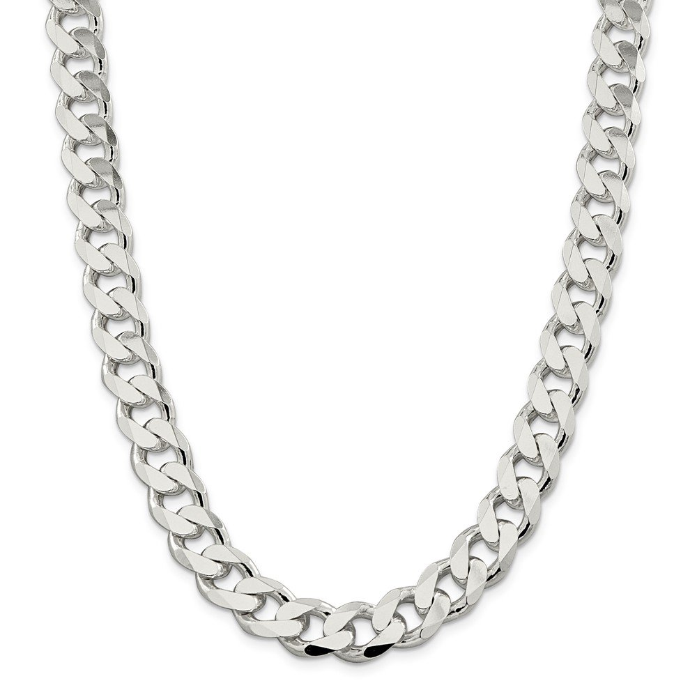 Sterling Silver 13mm Curb Chain Bracelet - 9 Inch