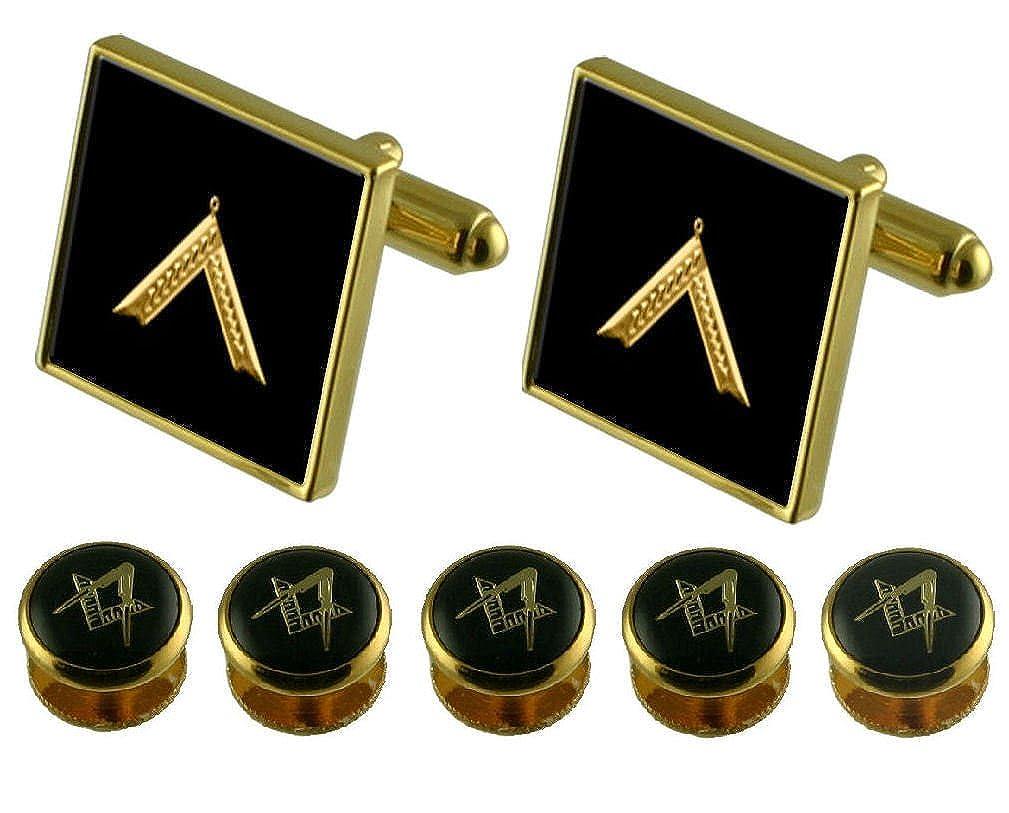 worshipmaster Gold Cufflinks Masonic 5 Shirt Dress Studs Box Set