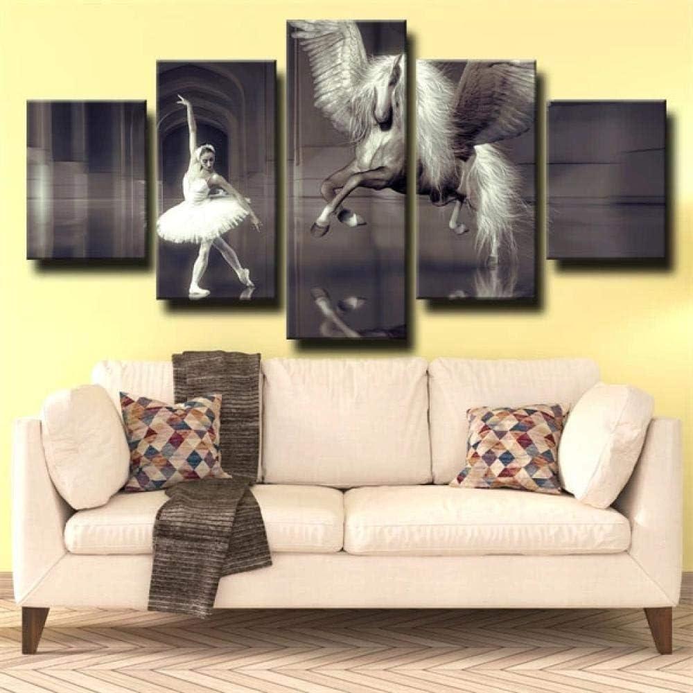 IIIUHU 5 Piezas Cuadro sobre Lienzo De Fotos Bailarina de Baile y Caballo Lienzo Impresión Cuadros Decoracion Salon Grandes Cuadros para Dormitorios Modernos Mural Pared Listo para Colgar