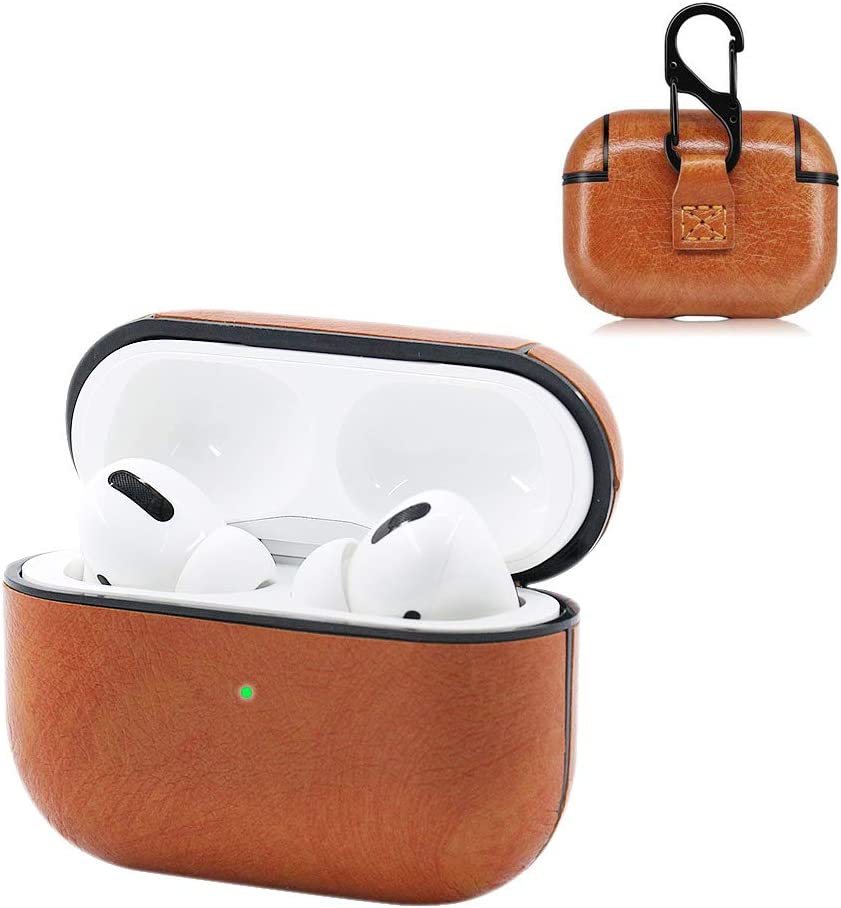 Leather Designer Case Brown Protective Shockproof Case Cover with Carabiner Keychain Compatible with AirPods Charging Case for Men and Women Airpod 1/&2 Case