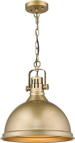 Emliviar 1-Light Farmhouse Pendant Light, 14 Industrial Metal Hanging Light Fixture, Antique Gold Finish, 4054L AG