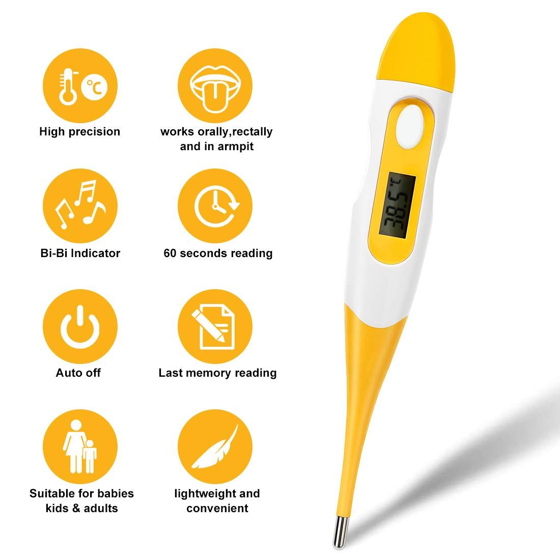 Baby K/örperthermometer Oral- und Achsel-Thermometer mit flexibler Messspitze Professional f/ür Baby Erwachsene Kinder Alte EXPOWER Digitales Fieberthermometer