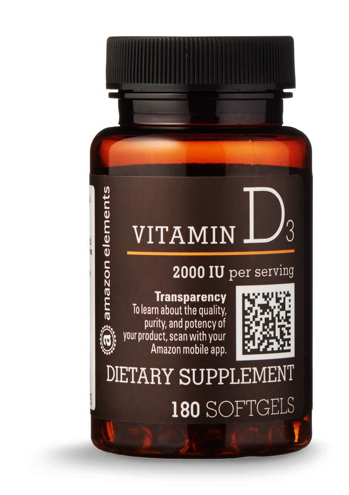 Amazon Elements Vitamin D3, 2000 IU, 180 Softgels, 6 month supply