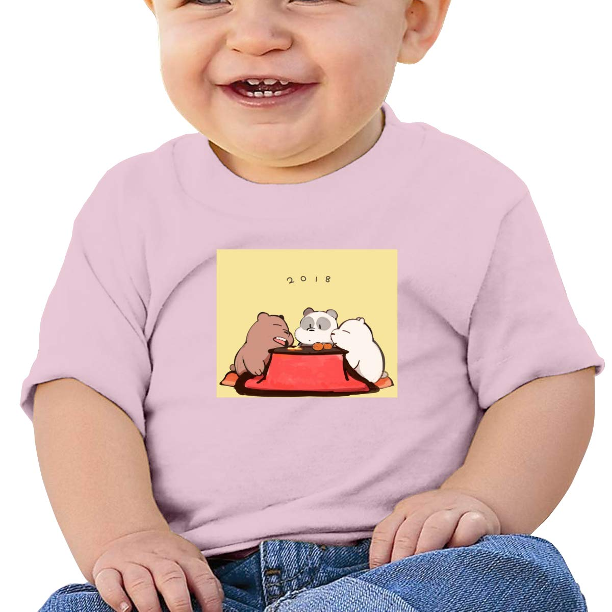 GanCheng 2018 We Bare Bears Tee Cute Black T Shirts for Baby Girl