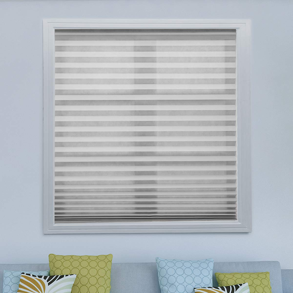Acholo 6 Pack Grey Cordless Pleated Fabric Shades Room Darkening Window Shades Blinds Trim-at-Home 36''x 72''