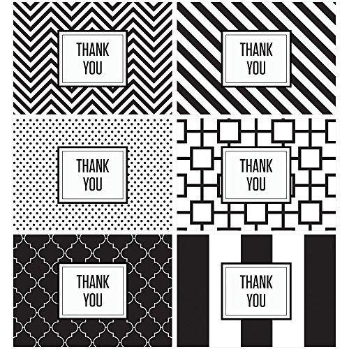 60 Postcards - Black & White Modern Thank You - 6 Different Patterns