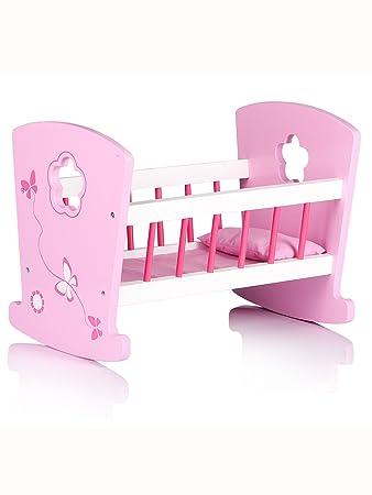 Möbel Puppenwiege mit Bettzeug Puppenbett mit Bettwäsche rosa Wiege Holz Stern Puppen & Zubehör