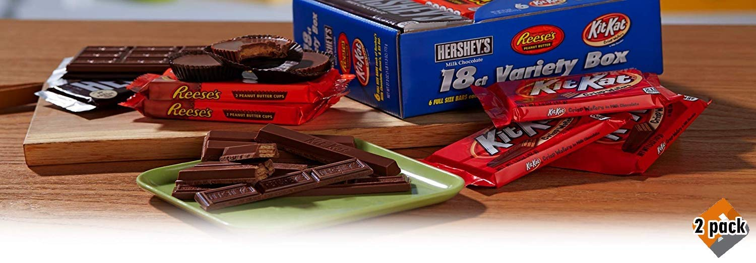 Hershey Candy Bar Assorted Variety Box (HERSHEY'S Milk Chocolate, KIT KAT, REESE'S Cups), Full Size, 18 Count