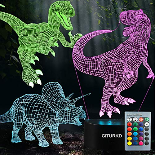 (3D Dinosaur Night Light - 3D Illusion Lamp Three Pattern and 7 Color Change Decor Lamp with Remote Control for Kids, Dinosaur Gifts for Boys)