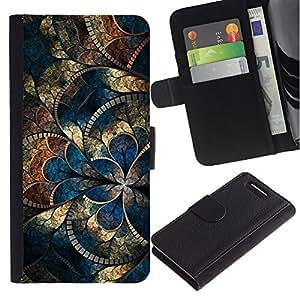 UberTech / Sony Xperia Z1 Compact D5503 / Church Gold Iridescent Blue Mosaique / Cuero PU Delgado caso Billetera cubierta Shell Armor Funda Case Cover Wallet Credit Card