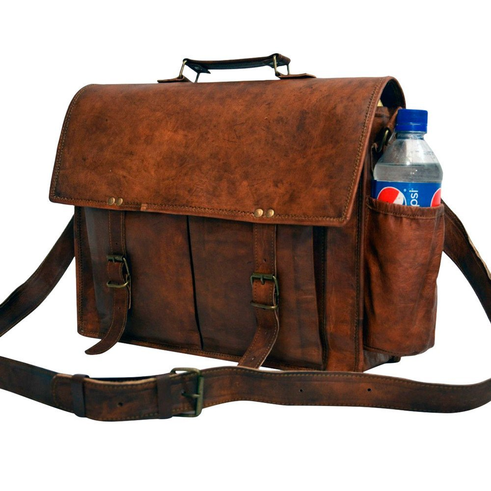 Messenger of Leather Handmade Vintage Leather Briefcase for Men & Women. 11'' x 15'' x 4.5''