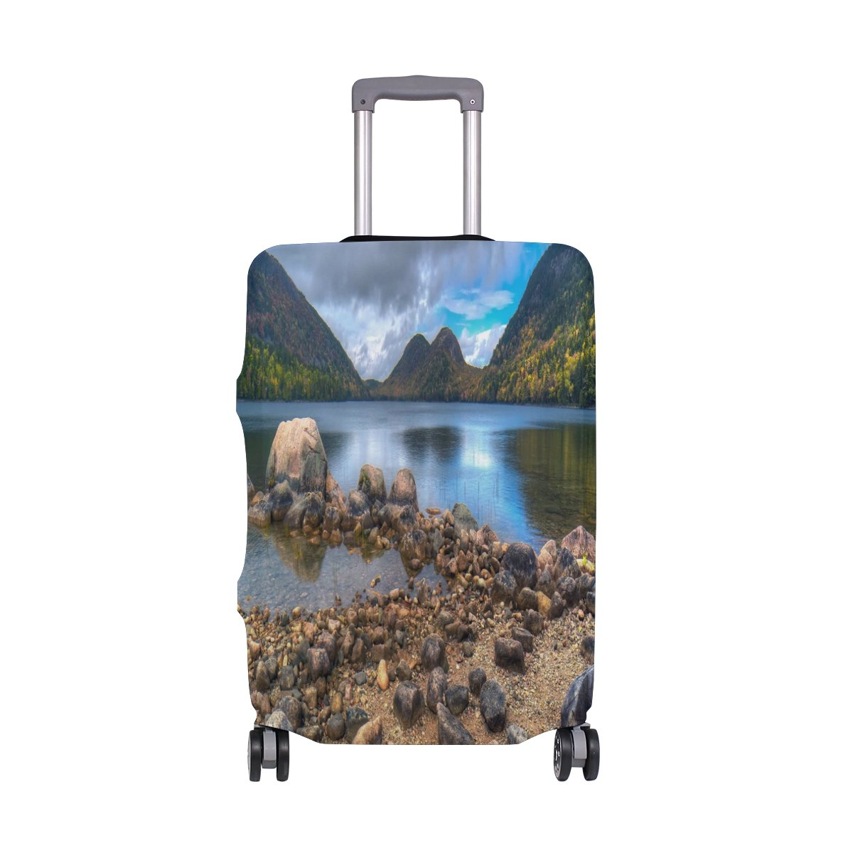DJROW Jordan Pond And Acadia National Park Maine The Nor Travel Washable Spandex Luggage Baggage Suitcase Cover Protector