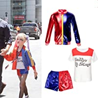 Qfeng Kids Girls Costume Suicide Squad Harley Quinn Fancy Dress Cosplay Costume Outfit