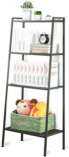 JS HOME Bookshelf Ladder Free Standing Bookcase Storage Rack Shelves Plant Organizers, 4-Tier – Vintage