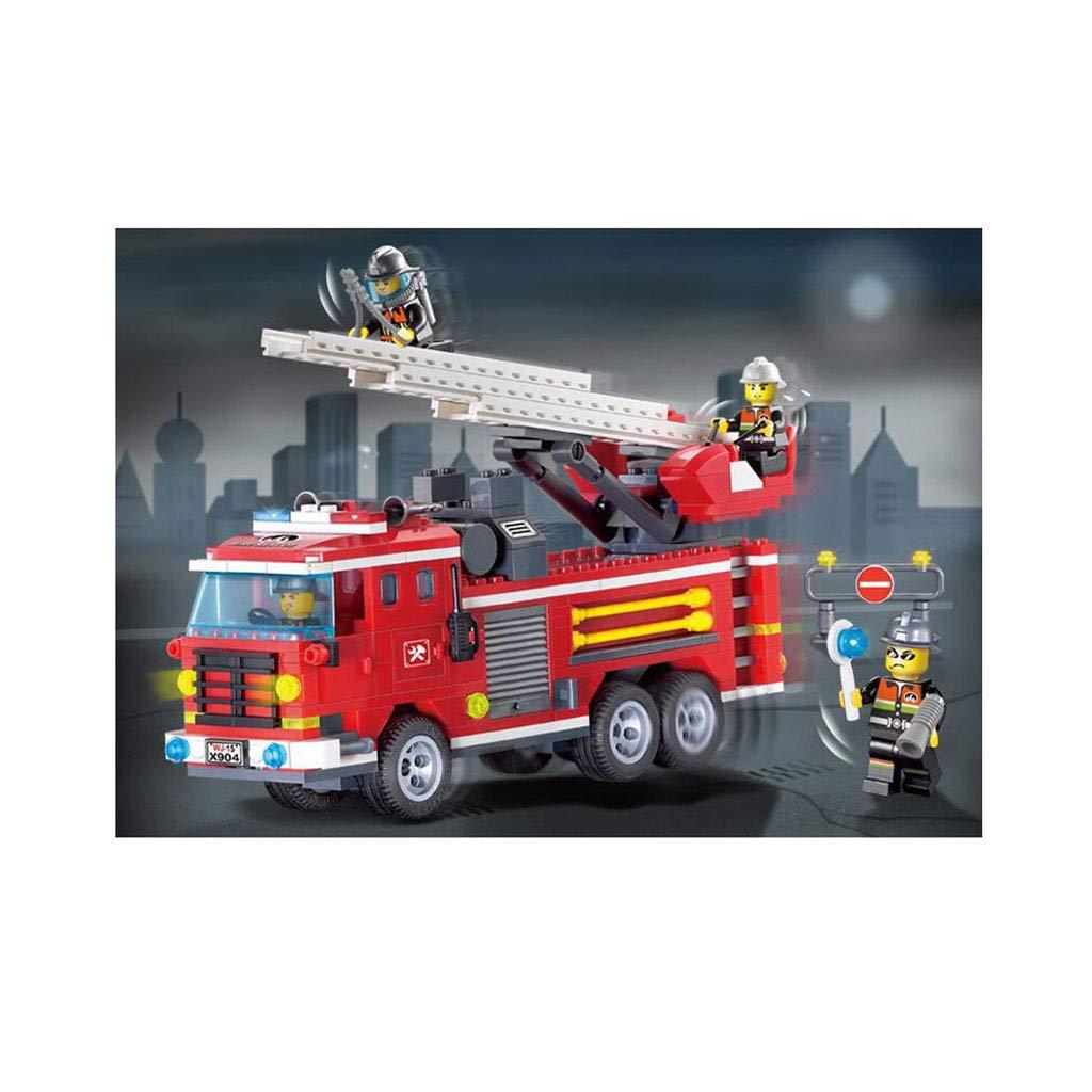Camión de escalera de incendios de la ciudad, modelo de camión de bomberos, ensamblaje de bloques de construcción de camiones, juego de construcción de juguetes para niños, 1 camión de bomberos, 1 cer