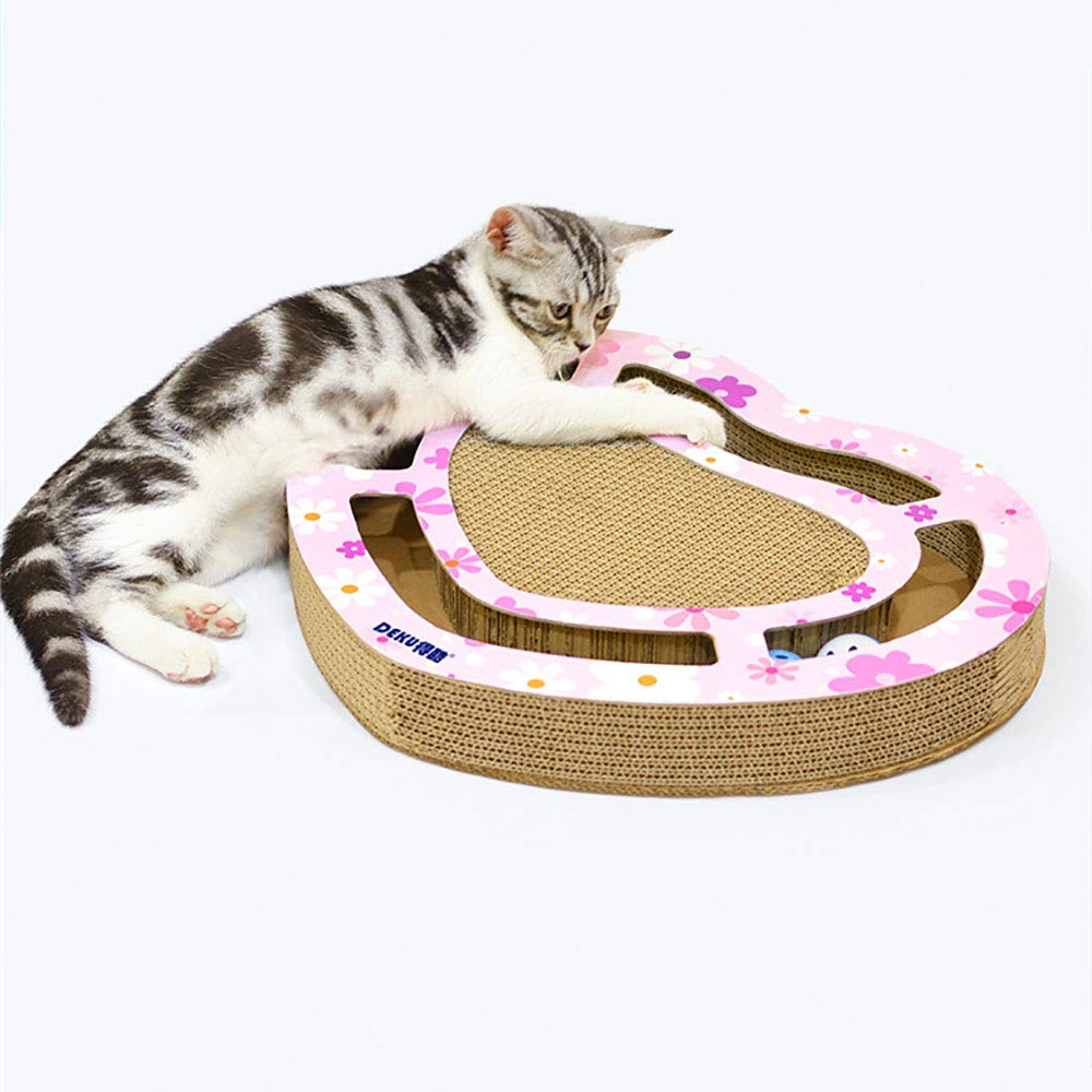 MengY Yellow, Pink Cat Toy Scratch Board Cat Ball Catch Plate Funny Cat Toys Real Wood Semicircle Catch (Color : Pink) by MengY