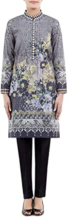 Cross-stitch Multi Color Cotton High Neck Blouse For Women