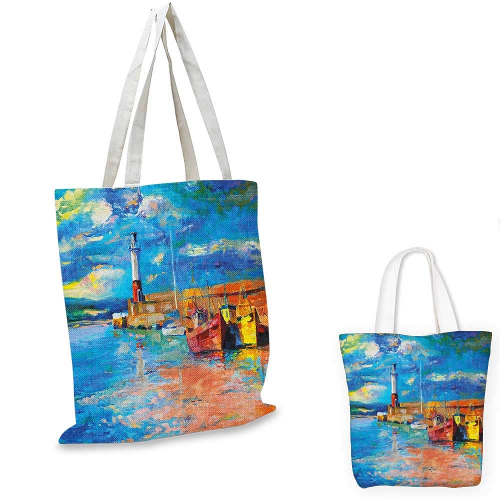 Art canvas messenger bag Oil Painting Tones Style Lighthouse and Boats on Sea Shore Town Coastal Charm Picture canvas beach bag Multicolor 12x15-10