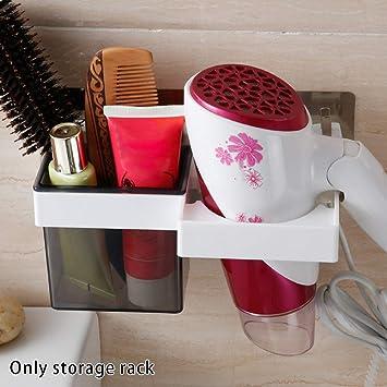 Soporte para secador de pelo, soporte de pared autoadhesivo para colgar, alisador de cabello, estante de almacenamiento, organizador de maquillaje, ...
