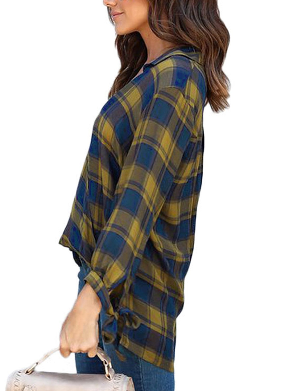 Astylish Women Casual Plaid V Neck 3 4 Long Sleeve Blouses and Tops Shirts Yellow Medium by Astylish (Image #2)