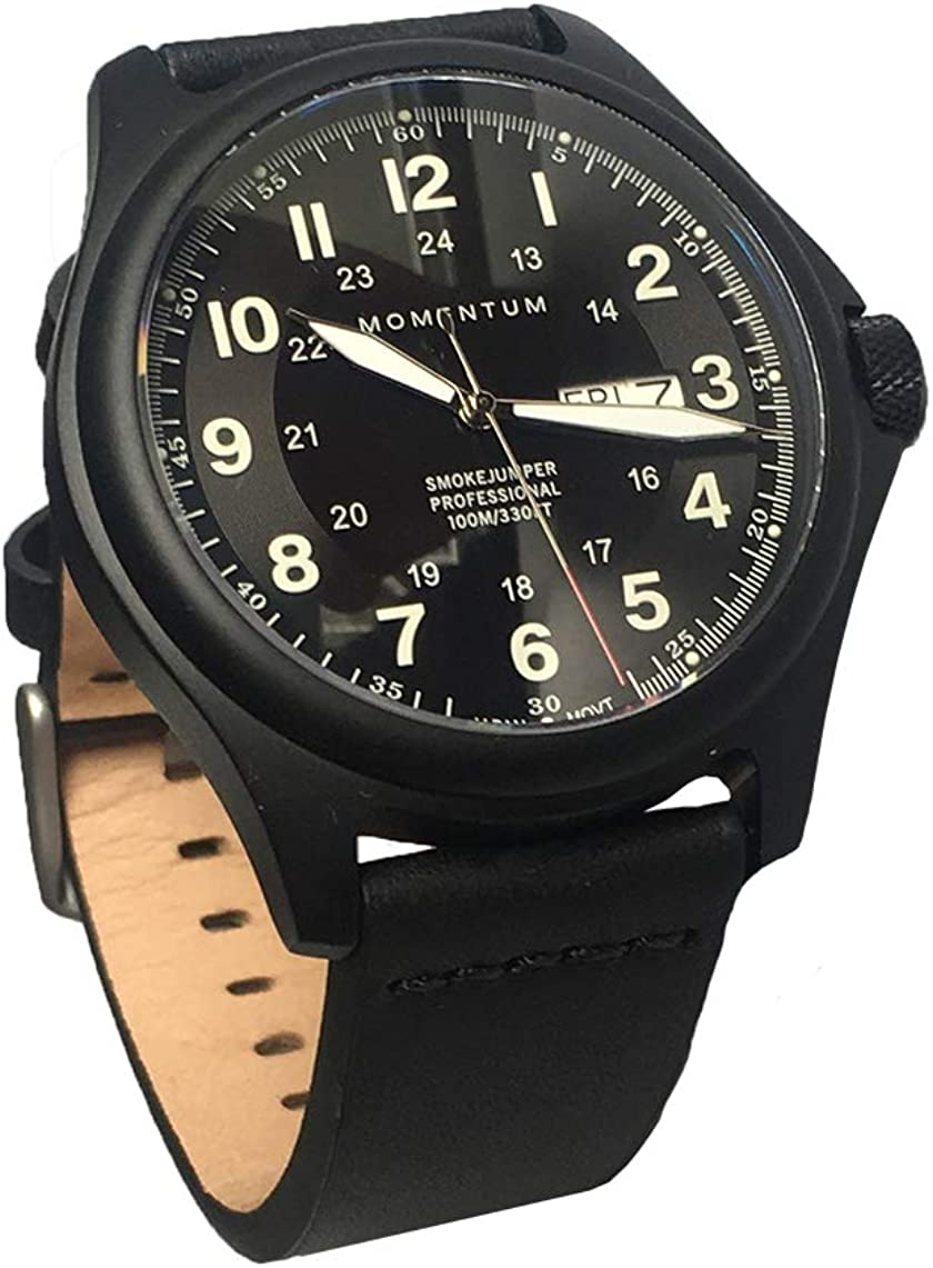 Momentum Men's Smokejumper Field Watch - Black Dial   Water Resistant, Screw Crown, Black-Ion Plated Titanium, Leather Strap, No Scratch Sapphire Crystal   Easy to Read Face