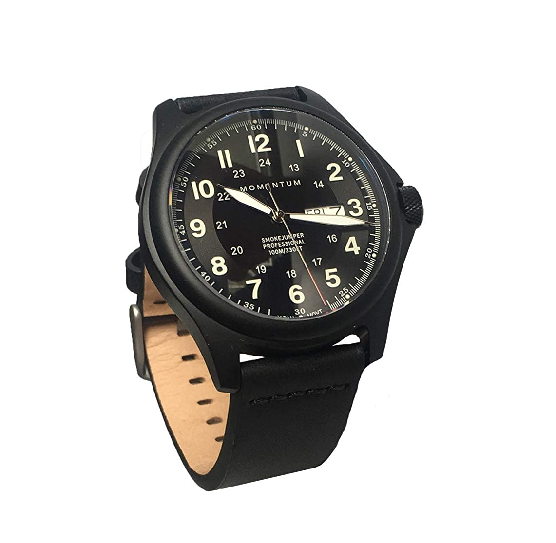 Momentum Men's Smokejumper Field Watch - Black Dial | Water Resistant, Screw Crown, Black-Ion Plated Titanium, Leather Strap, No Scratch Sapphire Crystal | Easy to Read Face