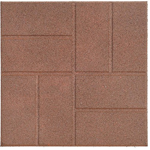 - Reversible Recycled Rubber Landscaping Paver, Brown, 16