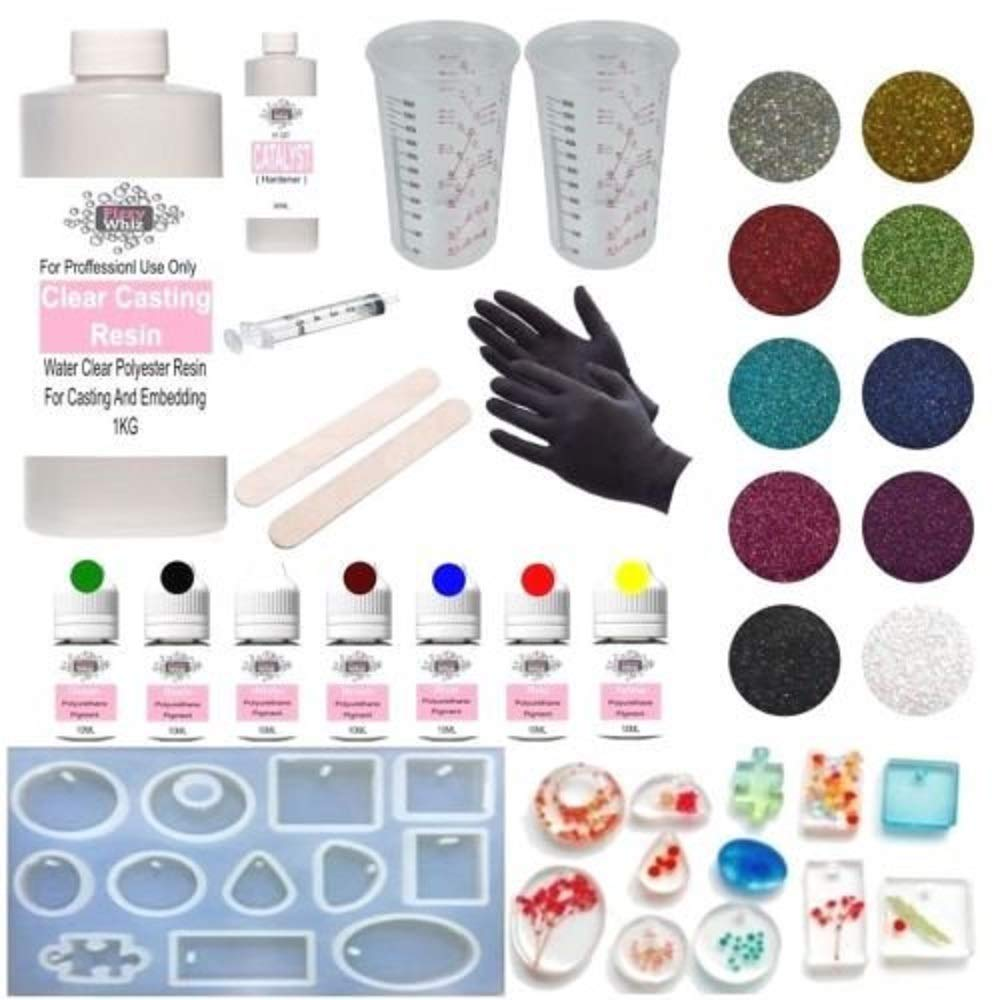 1kg Resin Casting Water Clear Kit + 10ml Dyes Catalyst Glitter Moulds Jewellery Making Embedding Preserving (Kit 56 - Complete) NA