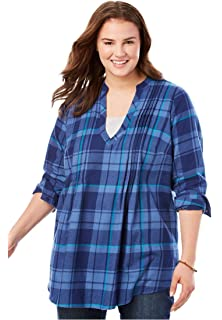4cb97eed1ddb6 Woman Within Plus Size Classic Flannel Shirt at Amazon Women s ...
