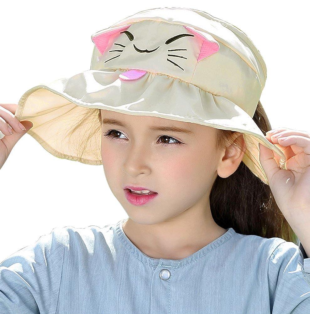 c87482f5f02 Amazon.com  Bienvenu Kids Girls Wide Brim Visor Sun Hat - UV Protection  Foldable Beach Cap