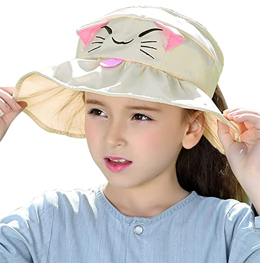 72874ba0ba7 Bienvenu Kids Girls Wide Brim Visor Sun Hat - UV Protection Foldable Beach  Cap