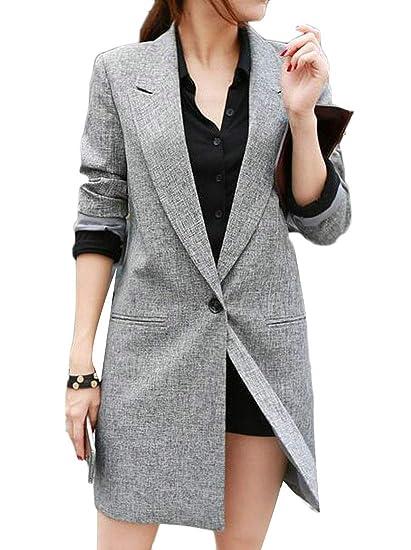 BYWX Women Slim Fit Leisure Linen Long Sleeve Longline Blazer Jacket Suit  Coat at Amazon Women s Clothing store  d009fdadef
