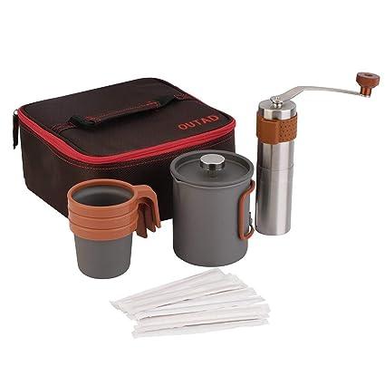 Redstrong Cafetera Francesa Press, Máquina de café OUTAD 20fl.oz Molinillo Manual Cafetera Francesa