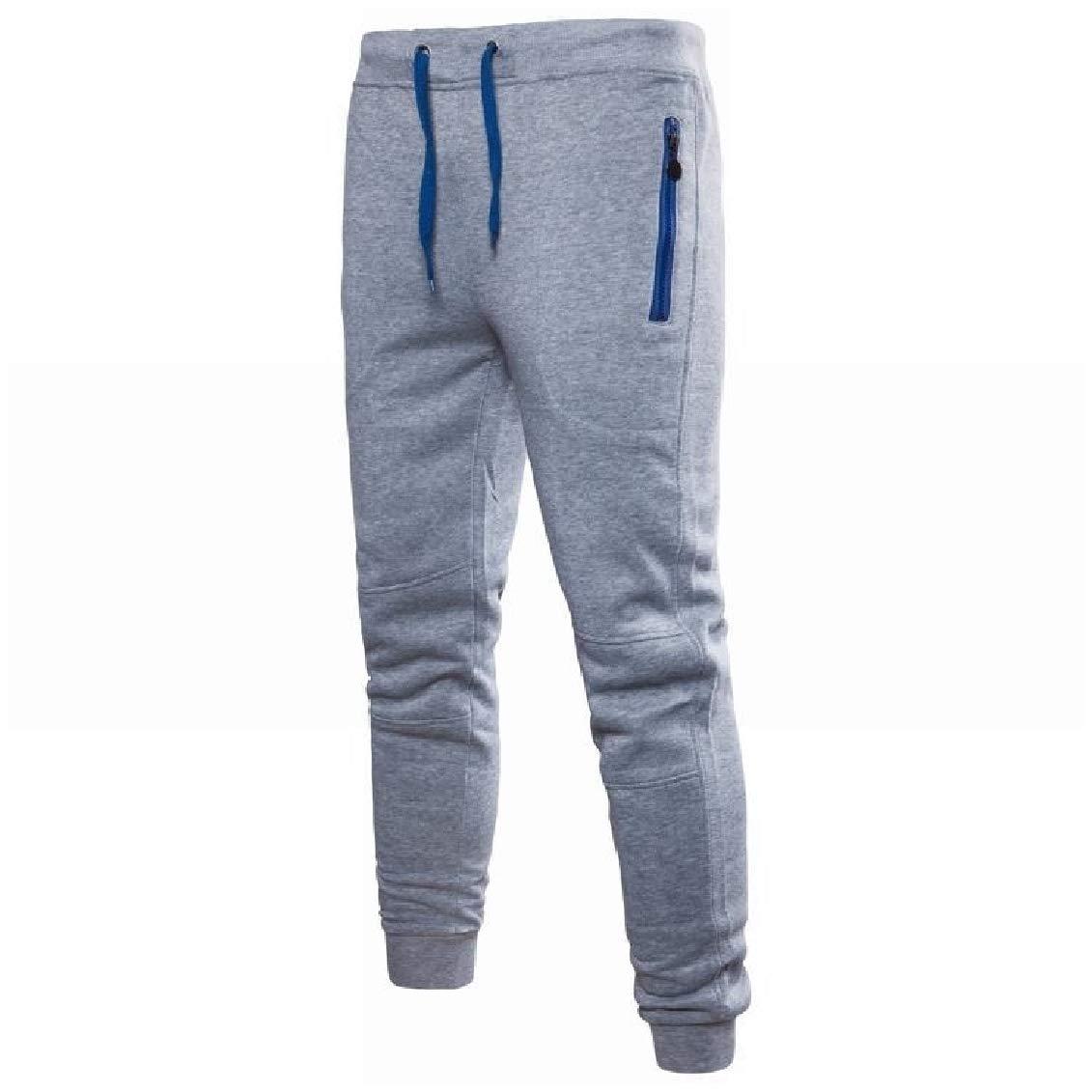 Coolred-Men Plus Size Pockets Zip Drawstring Elastic Waist Lounge Sports Pants