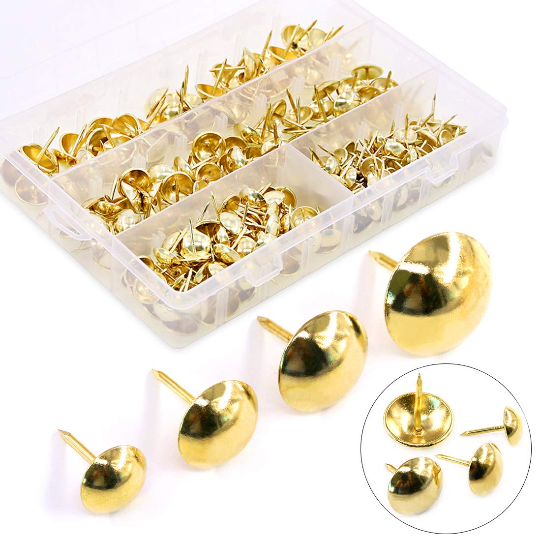 Hilitchi 280Pcs 4 Sizes Golden 7/16'' 9/16'' 5/8'' 3/4'' Upholstery Tacks for Furniture, Upholstery Furniture Nails Pins Assortment Kit for Sofa & headboards, Thumb Tack Push Pins