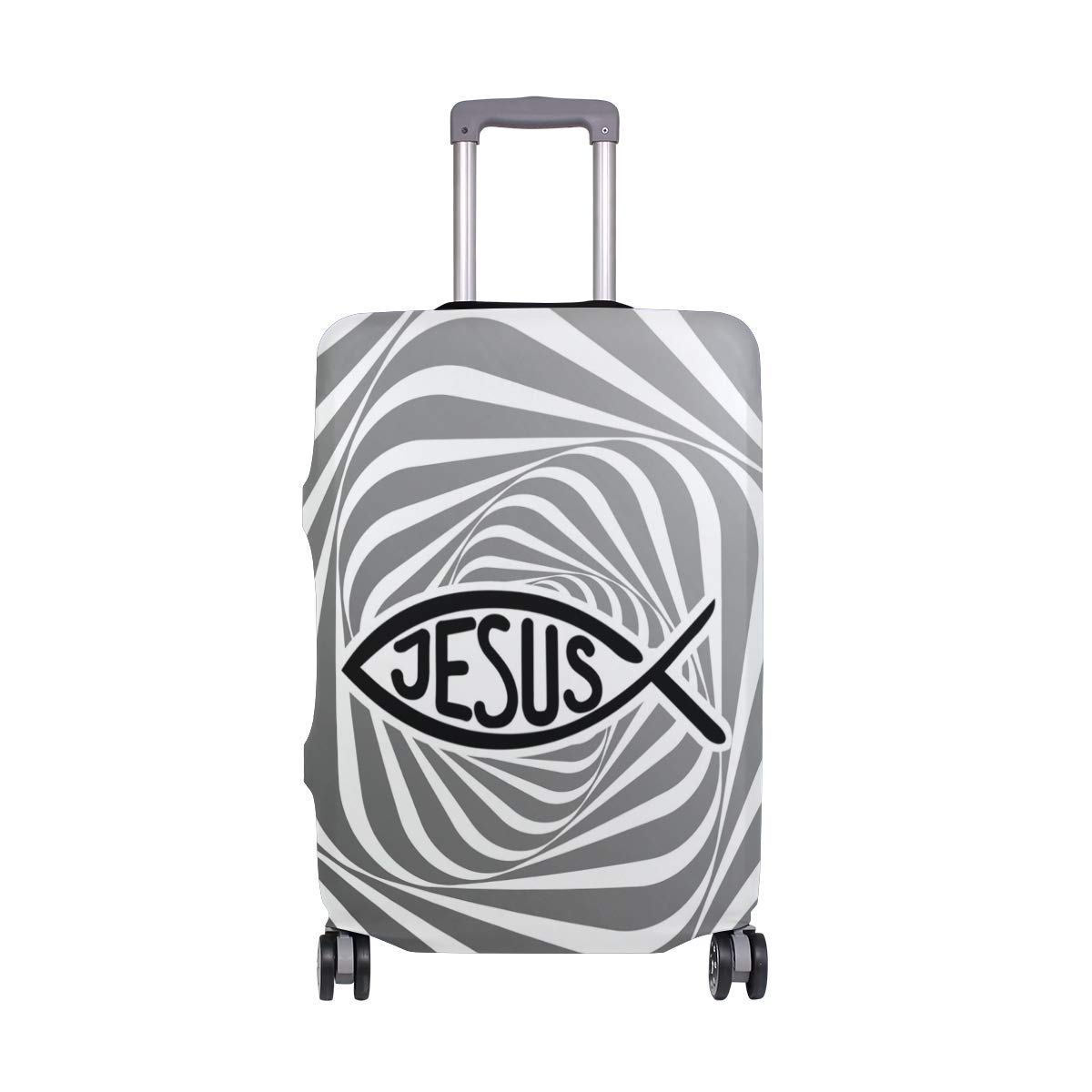 Jesus Fish Travel Luggage Cover - Suitcase Protector HLive Spandex Dust Proof Covers with Zipper, Fits 18-32 inch
