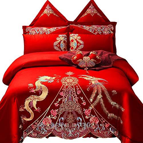 Red Satin Wedding Bedding Set