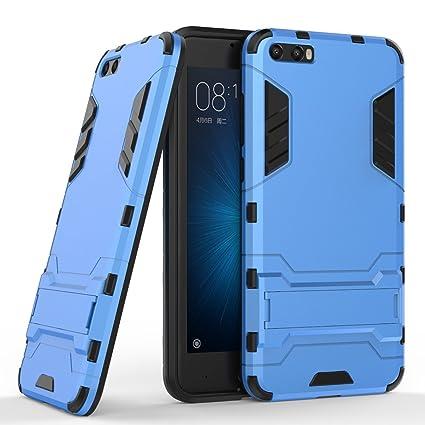 Funda para Xiaomi Mi 6 (5,15 Pulgadas) 2 en 1 Híbrida Rugged Armor Case Choque Absorción Protección Dual Layer Bumper Carcasa con pata de Cabra (Azul)