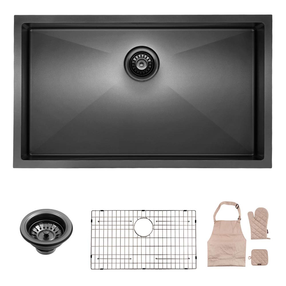Lordear Black Kitchen Sink Commercial 32 Inch 16 Gauge 10 Inch Deep Brushed Nickel Drop In Single Undermount Single Bowl Stainless Steel Bar Sink