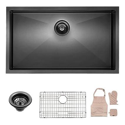 Lordear Black Kitchen Sink, 32 Inch Black Undermount Sink Drop in Single  Bowl Stainless Steel Kitchen Sink