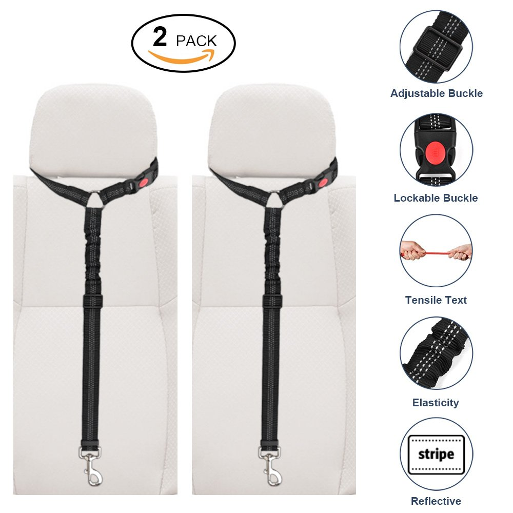 Slowton Dog Seatbelt, 2 Pack Pet Car Seat belt Headrest Restraint Adjustable Puppy Safety Seat Belt with Elastic Bungee and Reflective Stripe Connect with Dog Harness in Vehicle for Travel Daily Use