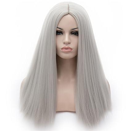wpqes largo recto solo color Split sintético peluca, peluca de uso diario, fiesta de