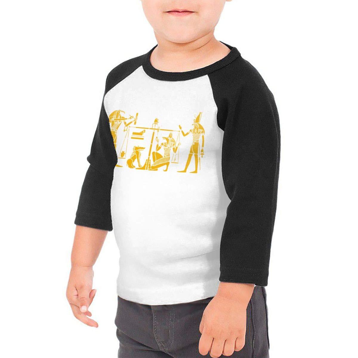 Kocvbng I Retro Egyptian People Raglan 3//4 Sleeves Tshirts for Girls Boy