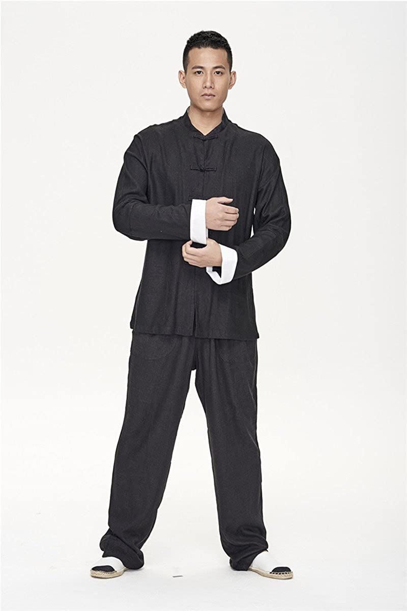 ZanYing Traditional Yoga Taichi Meditation Sets Stand Collar Loose Pants Black
