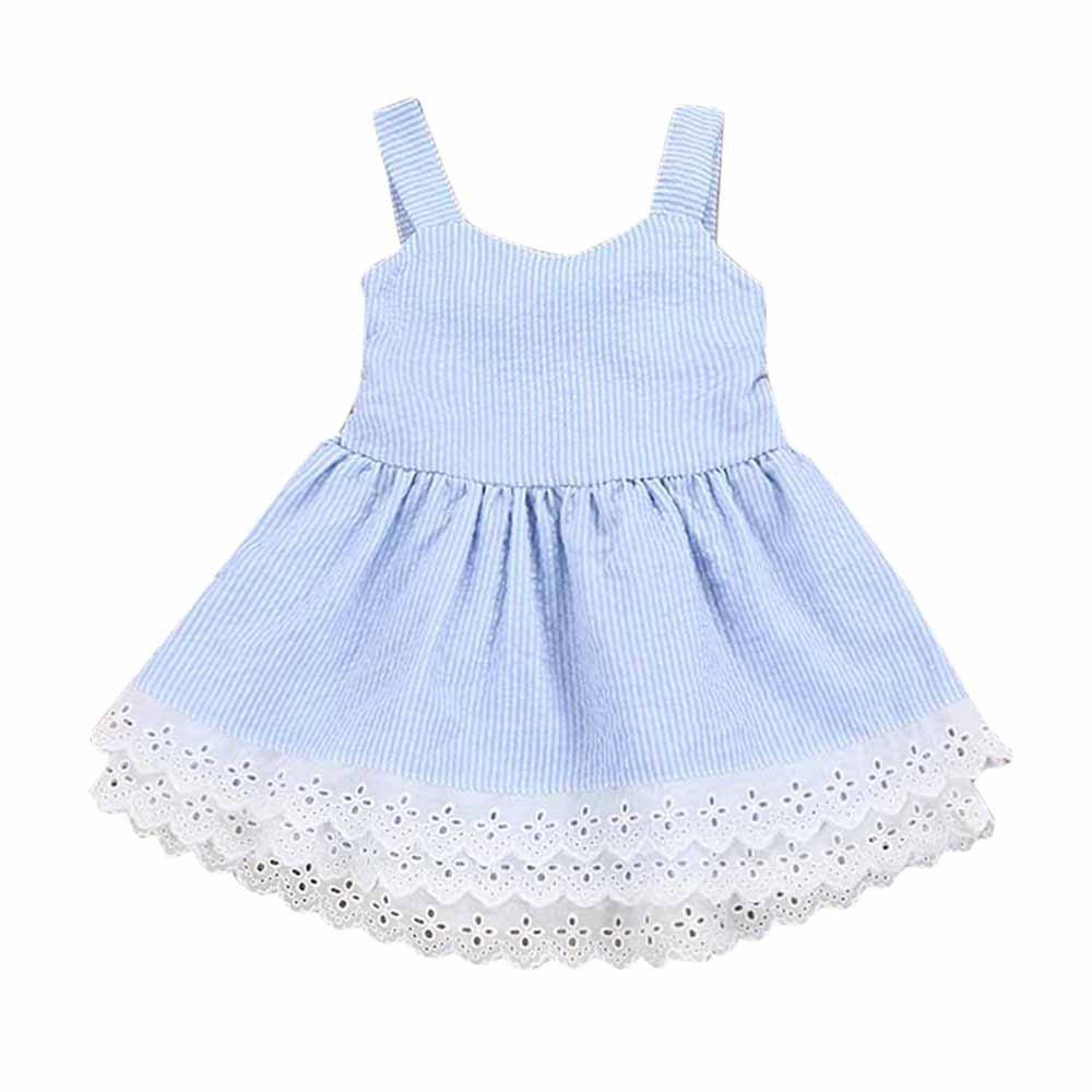 Little Girls Dresses, Toddler Summer Dress Sleeveless lace Strap Backless Sundress Size 1-5Y (3T, Blue)