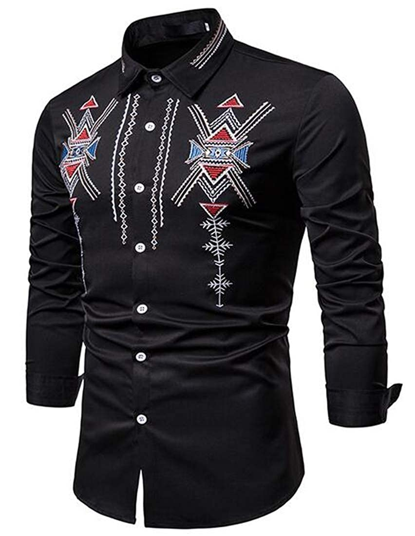 GRMO Men Embroidery Printing Over Sized Long Sleeve Boyfriend Button up Shirts