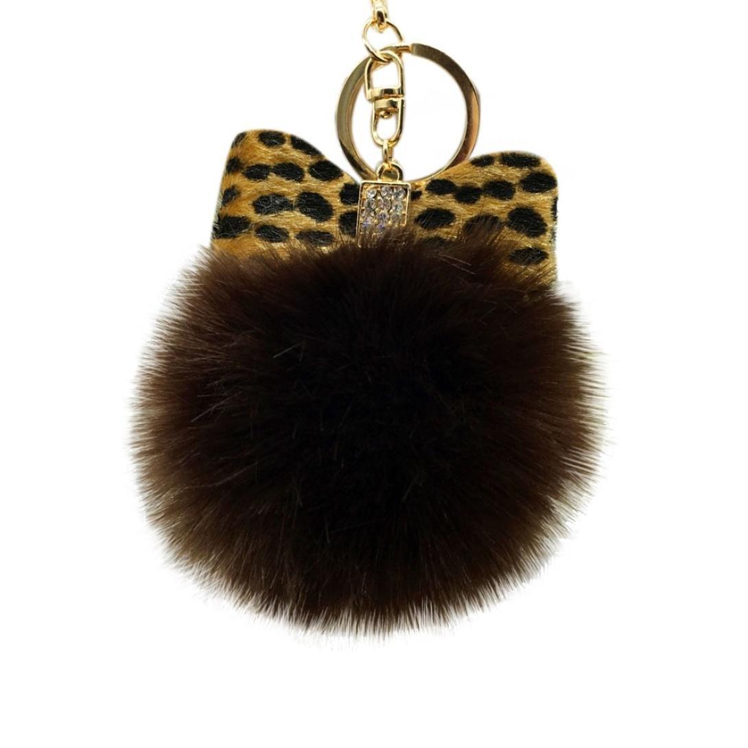 Tenworld Faux Fur Pom Pom Ball Keychain Handbag Key Ring Car Key Charm Tenworld-D352