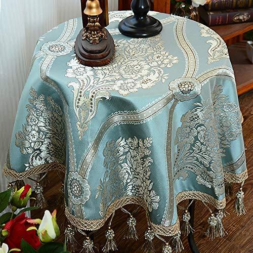 テーブルクロスマット ホームヨーロッパラウンドテーブルクロス生地ラウンドテーブルクロスホームレストラン大きなラウンドテーブルクロス小さなラウンドコーヒーテーブルクロス ホームデコレーション (色 : 青, サイズ : (120*140cm)) (120*140cm) 青 B07QLS38TQ
