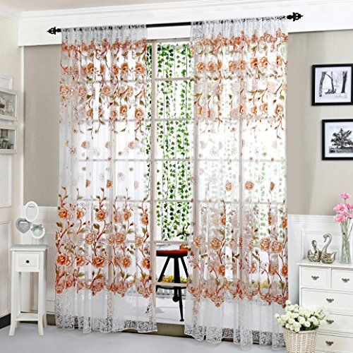 1Pc Floral Door Window Voile Tulle Valance Curtain (Coffee) - 2