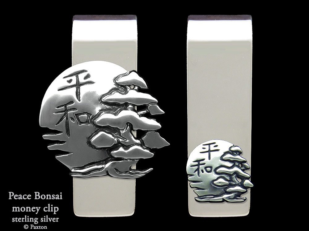 Peace Bonsai Money Clip in Solid Sterling Silver Hand Carved, Cast & Fabricated by Paxton